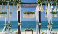 white and green decoration for wedding ceremony in Bali beach